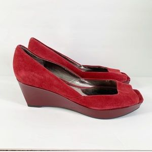 Mac Fisher Red Suede Leather Wedge Open Toe